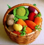 Вязаные фрукты, ягоды и овощи