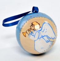 Ёлочная игрушка шар с сюрпризом трубящий Ангелочек