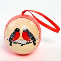 Ёлочная игрушка шар с сюрпризом Снегири