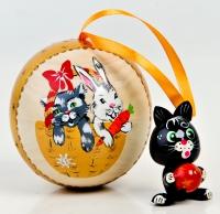 """Ёлочная игрушка """"Год кота и кролика"""""""