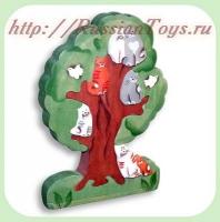 "Деревянный пазл ""Кошки на дереве"""