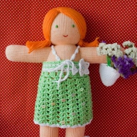 """Эксклюзивная вязаная кукла """"Катя"""" в зеленом платье"""
