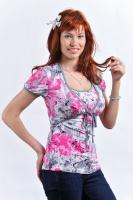 Блуза-болеро для кормления серо-розовая