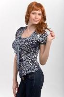 Блуза-болеро для кормления черно-серая
