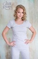 Простая добротная футболка для кормления серый меланж